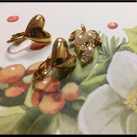 Vintage pendant and heart clip on earrings